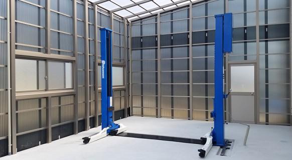 山口県 S様邸 ビシャモン製 オフセット2柱リフト納品設置